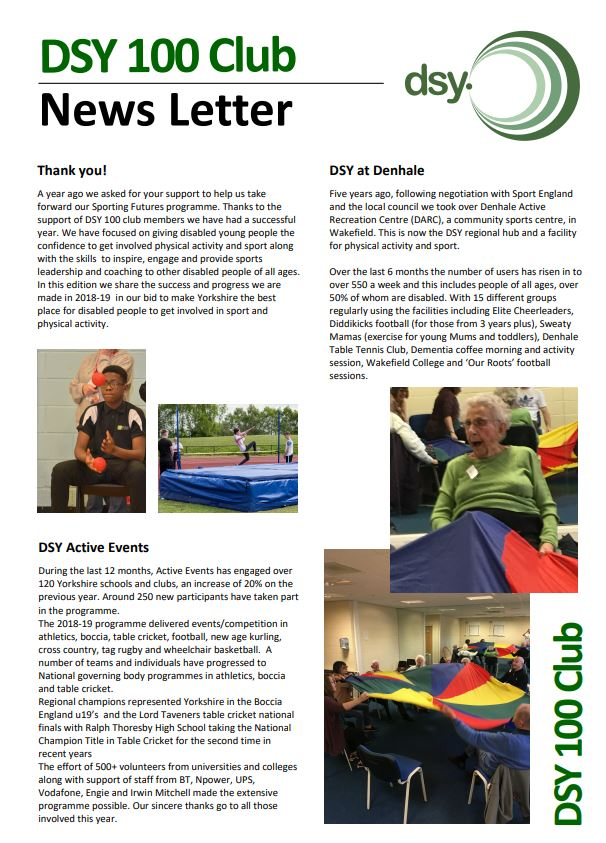 DSY Newsletter - Disability Sport Yorkshire